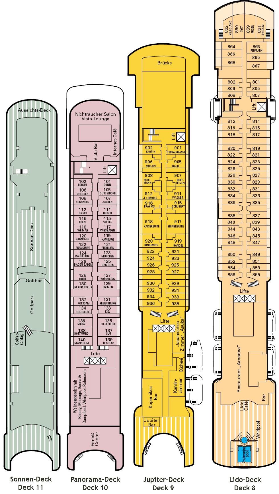 Ms Amadea Deckplan Deckpl 228 Ne Schiffsplan Kabinenplan